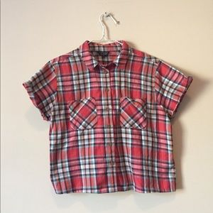 Top Shop cropped plaid shirt